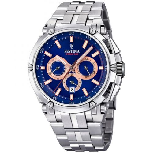 F20327/4 Blue  Festina Mens  Bracelet Watch With A Blue Dial